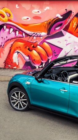 Mini cooper s cabrio, mini, blue (vertical)