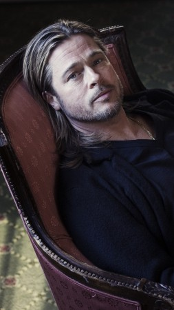 Brad Pitt, William Bradley Pitt, actor, producer, look, chair, room (vertical)