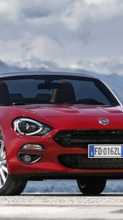 FIAT 124 Spider, roadster, red, snow (vertical)