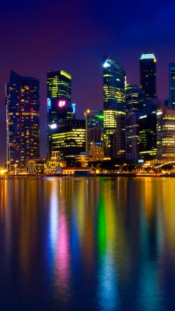 marina bay, singapore, town, color light (vertical)