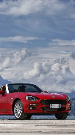 FIAT 124 Spider, roadster, red, snow, clouds (vertical)
