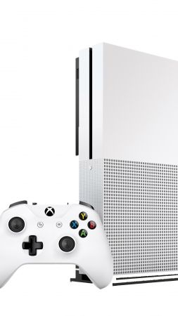 Xbox One S, white (vertical)