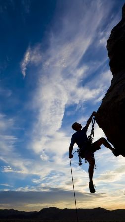 climber, extreme, silhouette, climbing, rock, sunset