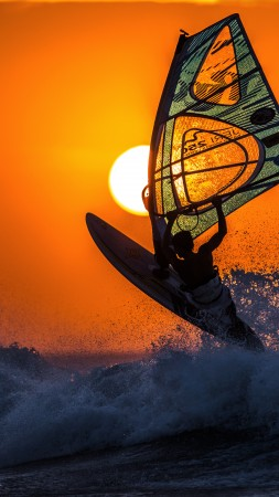 windsurfing, sunset, sky, sea, waves (vertical)