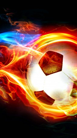 flaming ball, art, soccer, goal