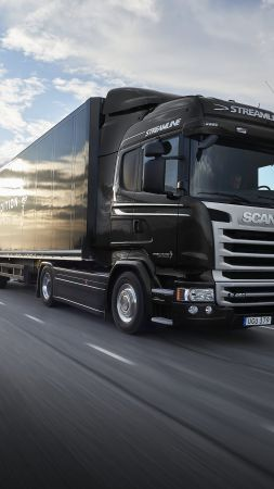 Scania R520, black, track, crown edition (vertical)