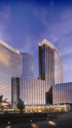 Las Vegas, Usa, Nevada, ARIA, hotel, travel, vacation, booking, resort, twilight, sky, clouds (vertical)
