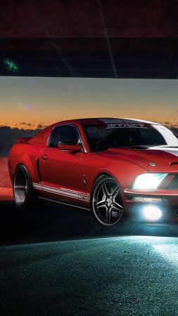 Ford Mustang Shelby GT500, speed, night, red (vertical)