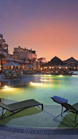 Cabo San Lucas, Mexico, Resort, Hotel, sunset, sunrise, pool, sunbed, light, travel, vacation, booking (vertical)