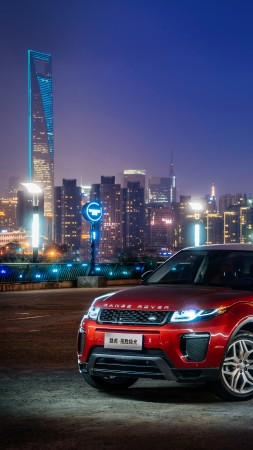 Range Rover Evoque, red, town, night (vertical)