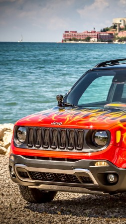 Jeep Renegade Hells Revenge, fire, jeep, red
