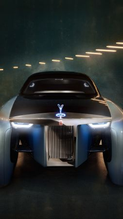 Rolls-Royce Vision Next 100, future cars, futurism, silver (vertical)