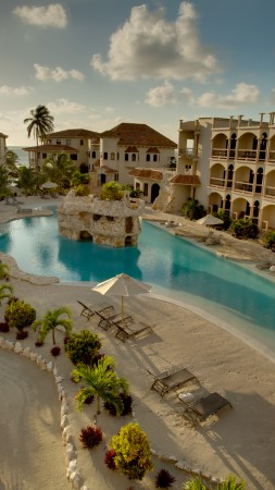 Belize, San Pedro, Hotel, pool, resort, sky, sun, travel, vacation, booking, sunbed