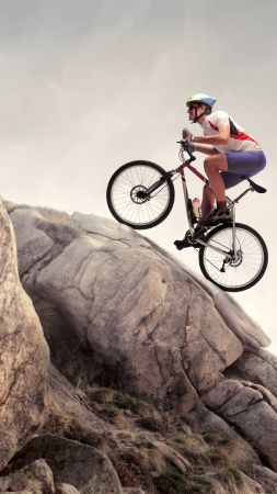 rock, climbing, cycle, extreme (vertical)