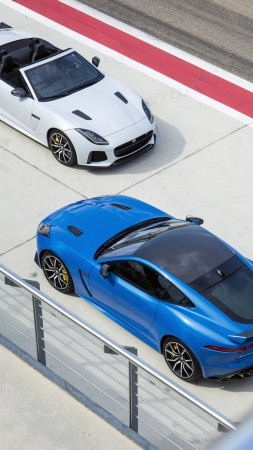 Jaguar F-Type SVR, sport cars, bluem white (vertical)