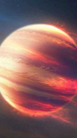 Space Fire Planet, Exoplanet, Planet, space, stars (vertical)
