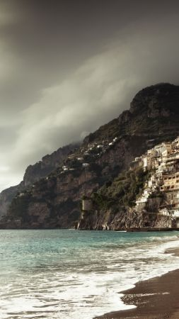 positano coast, 5k, 4k wallpaper, 8k, italy, clouds (vertical)