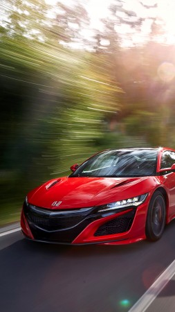 Honda NSX, supercar, speed, red (vertical)