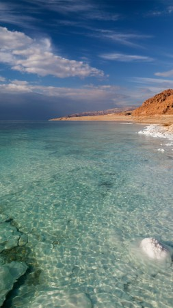 Dead Sea, 5k, 4k wallpaper, Israel, Palestine, Jordan, sea, water, sky, clouds, transparent, salt (vertical)