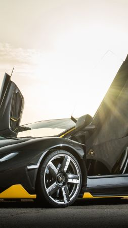 Lamborghini Centenario coupe, supercar, black (vertical)