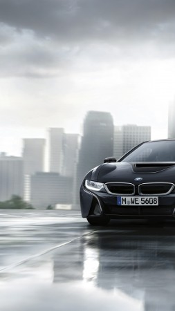 "BMW i8 ""Protonic Dark Silver Edition"", paris auto show 2016, black (vertical)"