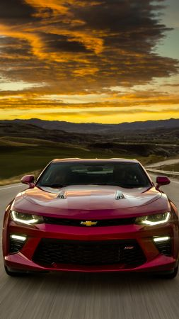 Chevrolet Camaro Europe version, red, sunset