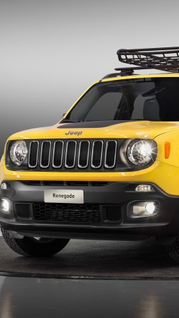 jeep renegade longitude moparized, paris auto show 2016, yellow (vertical)