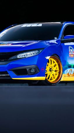 Honda's Sonic Civic, sedan, blue, sonic (vertical)