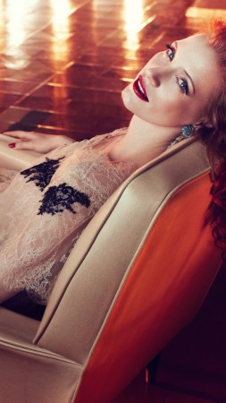 Jessica Chastain, Actress, television star, red hair, beauty, dress, red lips, interior, Vogue Italia (vertical)