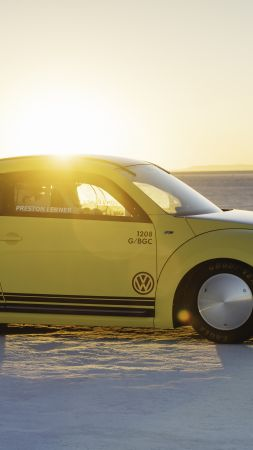 Volkswagen Beetle LSR, rally, yellow, speed (vertical)