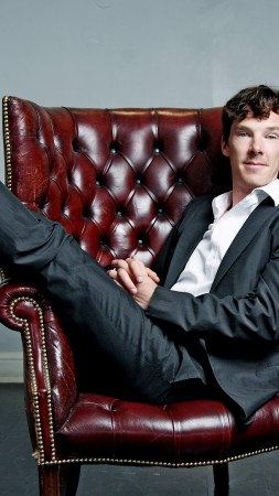 Benedict Cumberbatch, Actor, television star, room, chair (vertical)