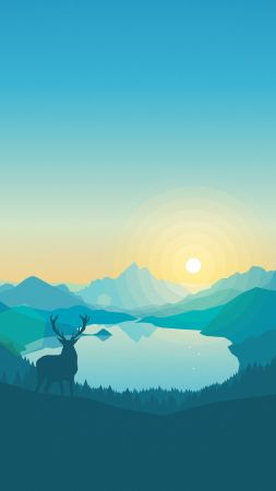 flat, forest, deer, 4k, 5k, iphone wallpaper, abstract (vertical)