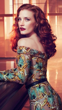 Jessica Chastain, red hair, beauty, dress, red lips, interior, Vogue Italia (vertical)