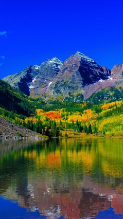 Maroon Bells, 5k, 4k wallpaper, 8k, colorado, mount, river (vertical)