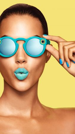 Snapchat glasses, girl, blue lips, google glass, Snapchat