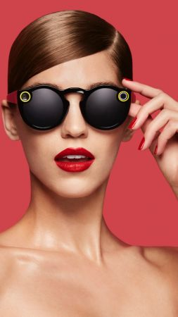 Snapchat glasses, girl, lips, google glass, Snapchat (vertical)