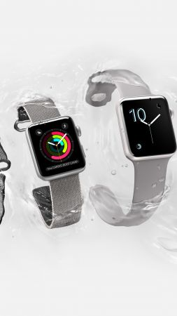 Apple Watch Series 2, smart watch, iWatch, wallpaper, Apple, display, silver, Real Futuristic Gadgets (vertical)