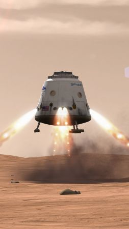 SpaceX, ship, red dragon, mars (vertical)