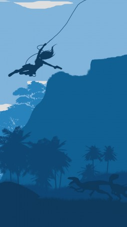 tomb raider, forest, dinosaur, blue, flat (vertical)