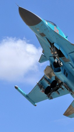 Sukhoi Su-34, fighter aircraft, Russian army, air force, Russia (vertical)