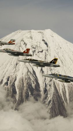 fighter aircraft, Mount, Fuji, U.S. Air Force (vertical)