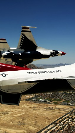 Thunderbird f-16, fighter aircraft, U.S. Airforce (vertical)