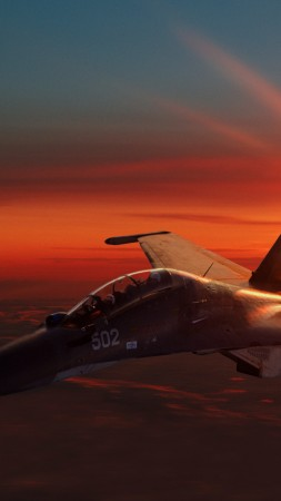 Sukhoi Su-30, fighter aircraft, sunset, Russian Army (vertical)