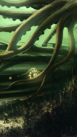 Octopus, Nautilus, Jules Verne, bottom, ocean, boat. Underwater, ocean, sea, water, art, green