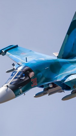 Sukhoi Su-34, fighter aircraft, Russian army, Russian air force (vertical)