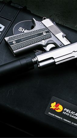 Dan Wesson M1911, ACP pistol, silencer (vertical)