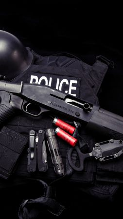 Mossberg 930, shotgun, police, knife, uniform, Ammunition (vertical)