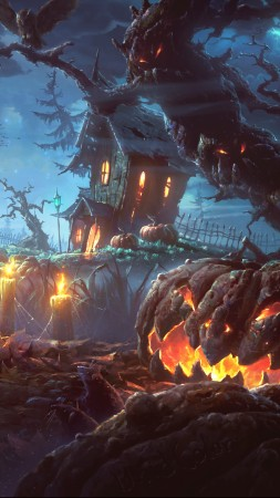 Holiday, Halloween, 31 October, pumpkin host, forest, castle (vertical)