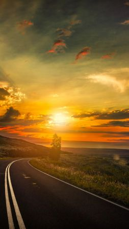 road, 5k, 4k wallpaper, 8k, clouds, sunset