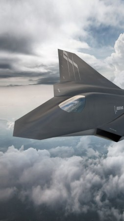 Boeing F X, fighter aircraft, clouds, Concept, U.S. Air Force (vertical)